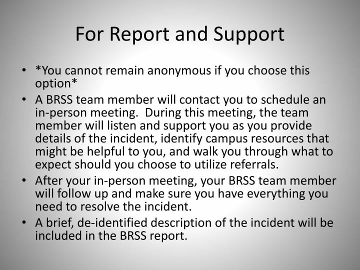 For Report and Support