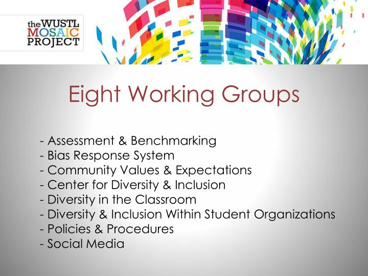 Eight Working Groups