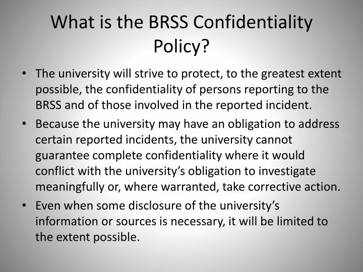 What is the BRSS Confidentiality Policy?