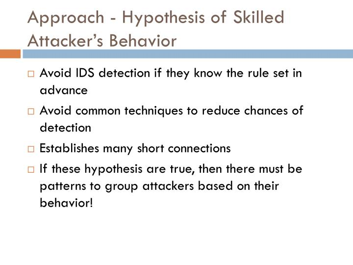 Approach - Hypothesis of Skilled Attacker's Behavior
