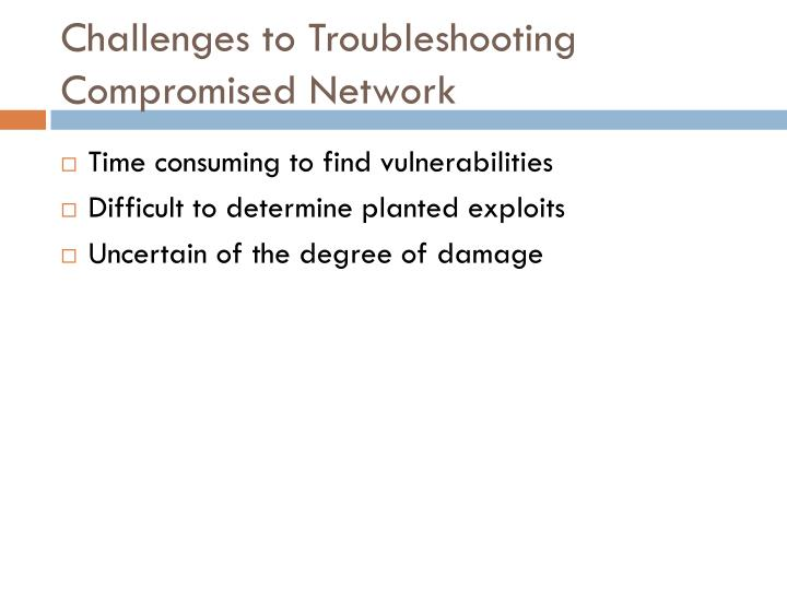 Challenges to troubleshooting compromised network