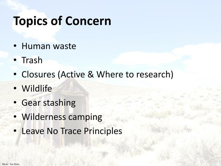 Topics of Concern