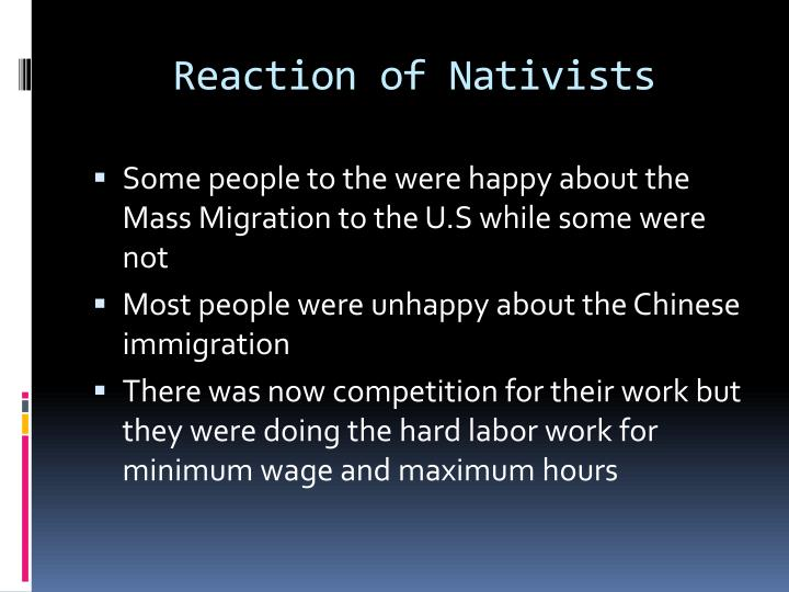 Reaction of Nativists