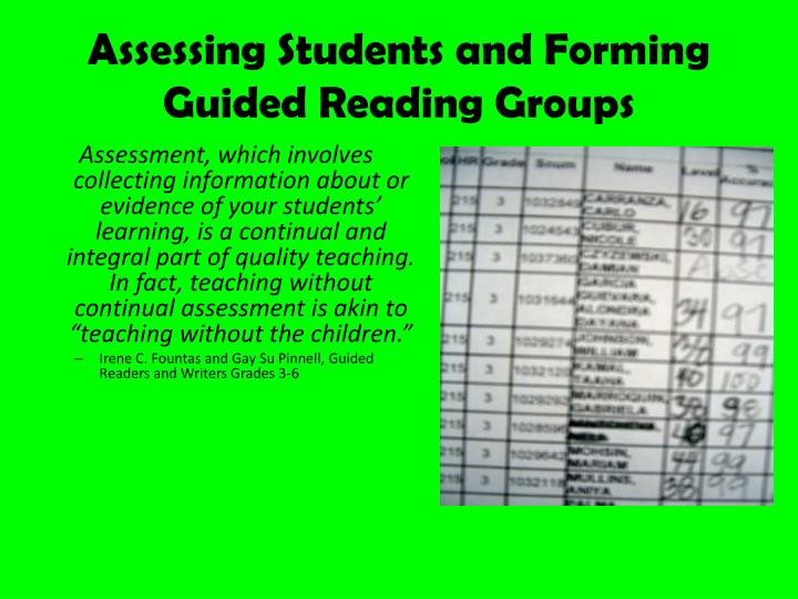 Assessing Students and Forming Guided Reading Groups