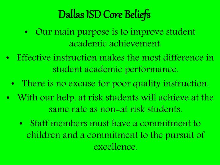 Dallas ISD Core Beliefs