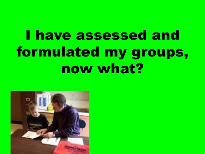 I have assessed and formulated my groups, now what?