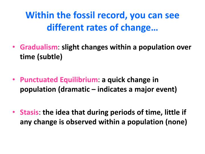 Within the fossil record, you can see different rates of change…