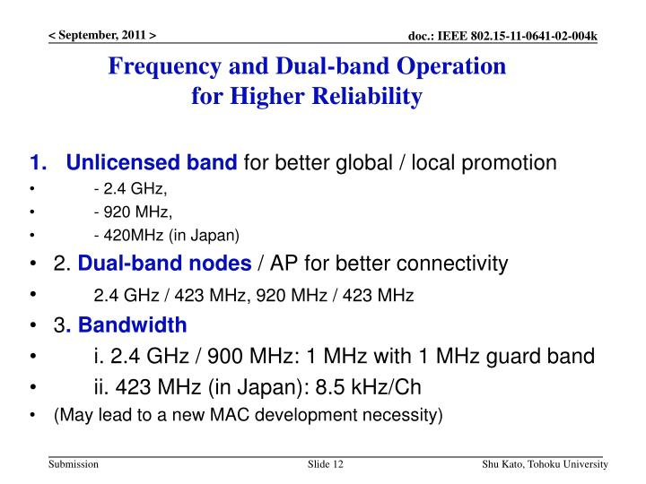 Frequency and Dual-band Operation