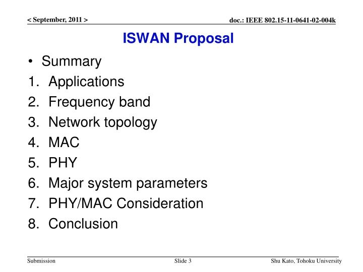 Iswan proposal
