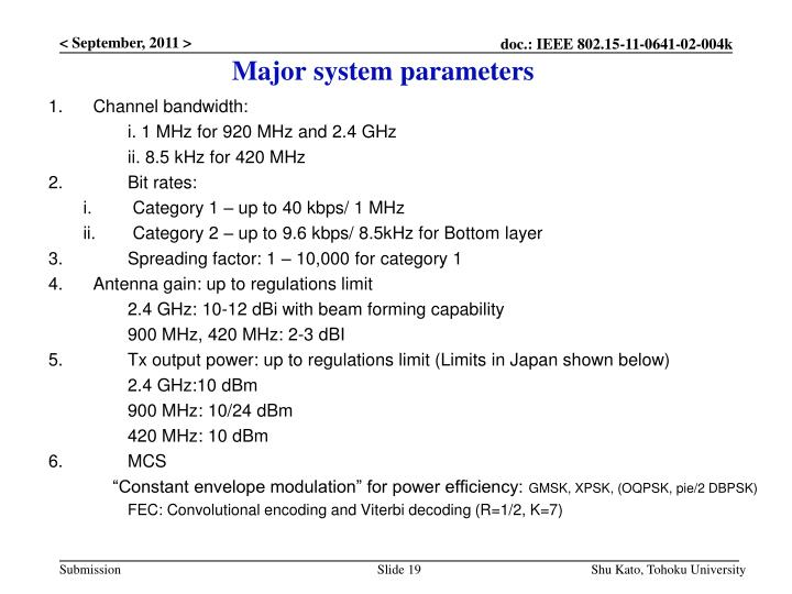 Major system parameters