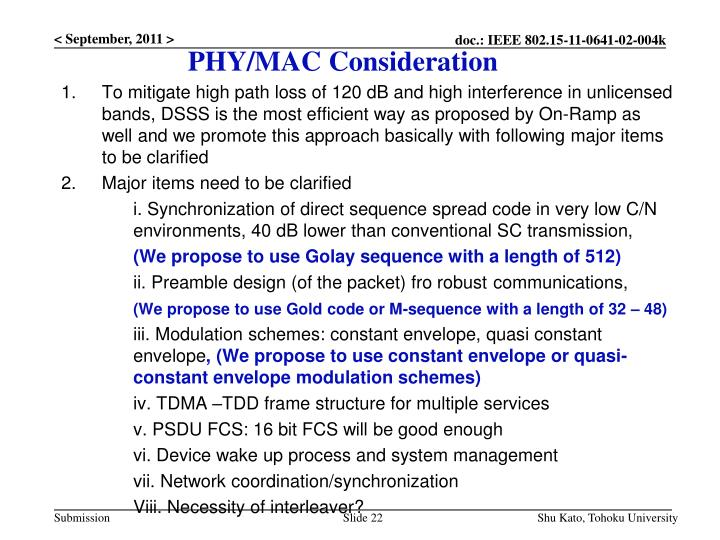 PHY/MAC Consideration