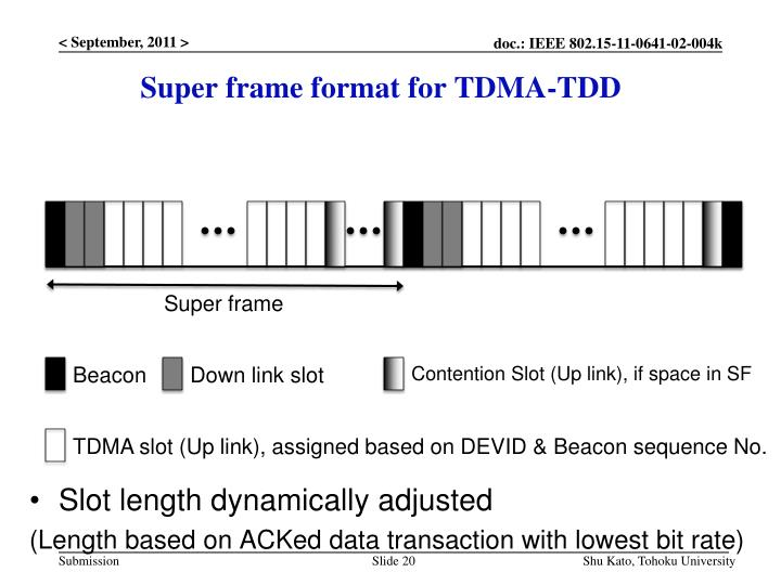 Super frame format for TDMA-TDD