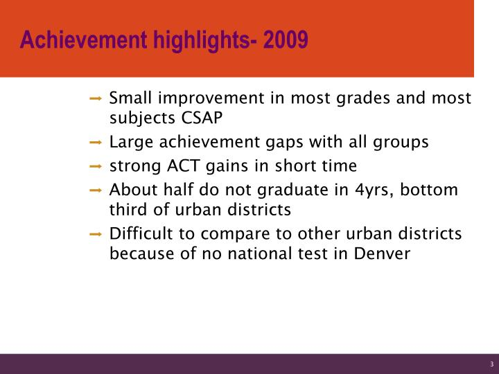 Achievement highlights 2009