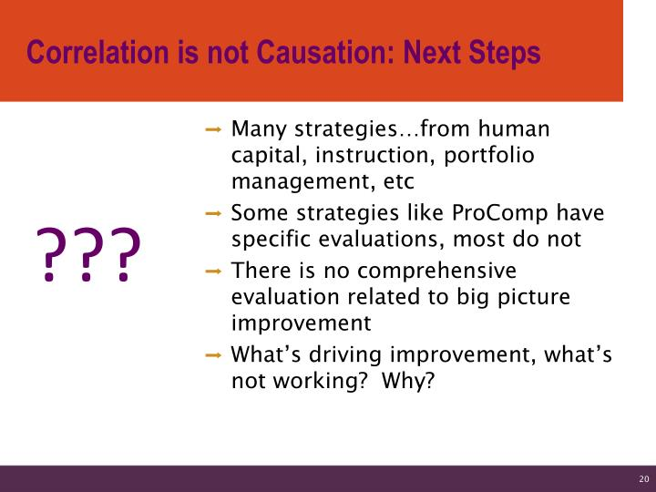 Correlation is not Causation: Next Steps