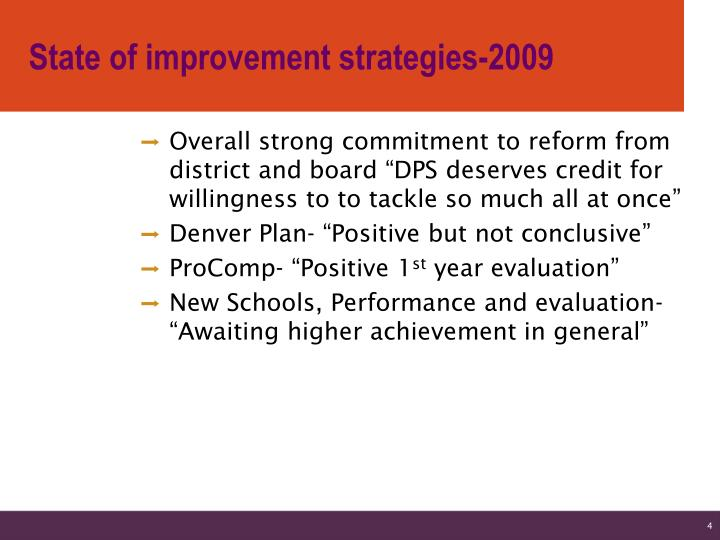 State of improvement strategies-2009