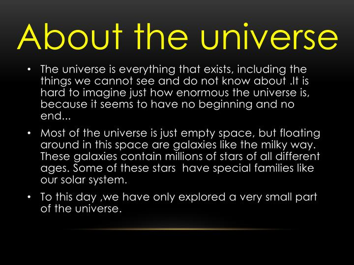 About the universe
