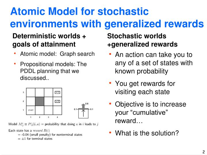 Atomic model for stochastic environments with generalized rewards