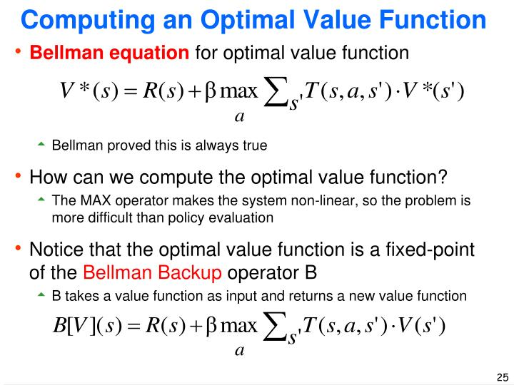 Computing an Optimal Value Function