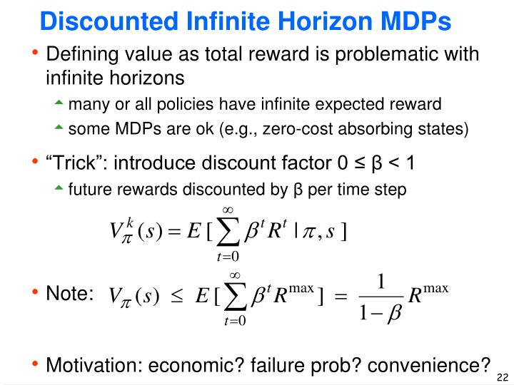 Discounted Infinite Horizon MDPs