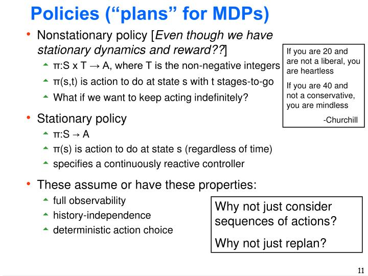 "Policies (""plans"" for MDPs)"