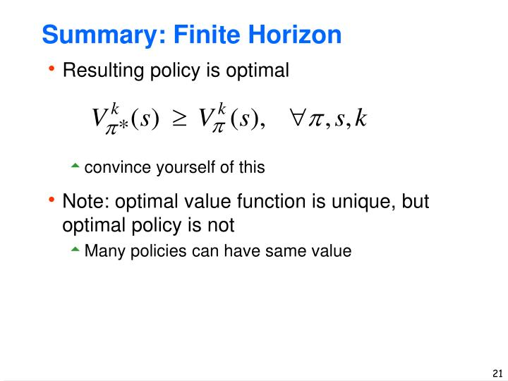 Summary: Finite Horizon