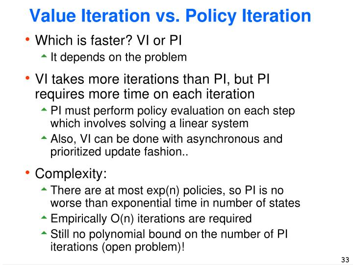 Value Iteration vs. Policy Iteration