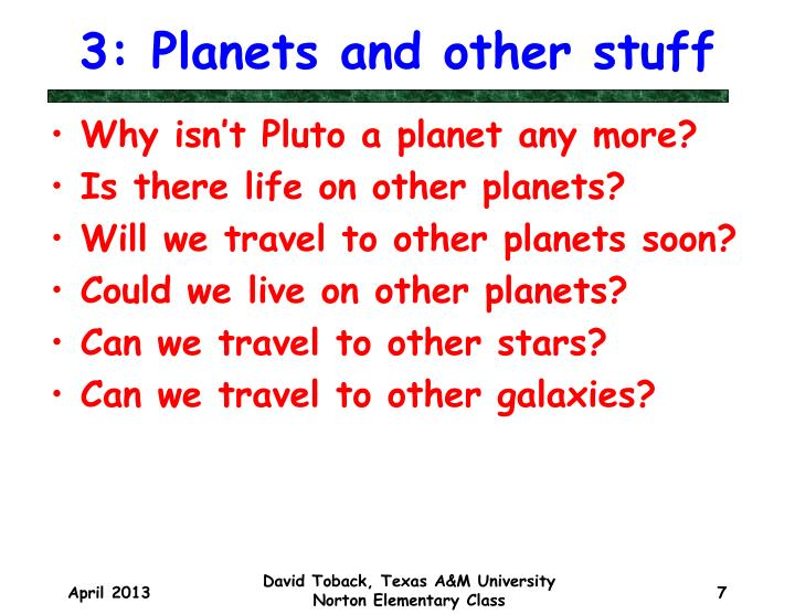 3: Planets and other stuff