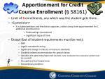 apportionment for credit course enrollment 58161