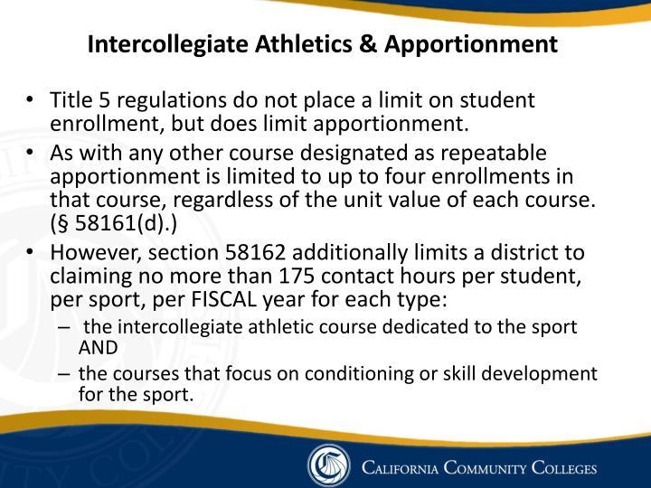 Intercollegiate Athletics & Apportionment