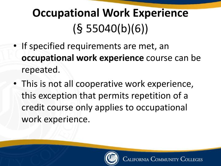 Occupational Work Experience