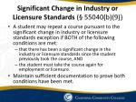 significant change in industry or licensure standards 55040 b 9