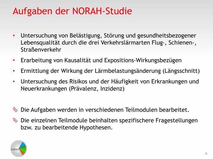 Aufgaben der NORAH-Studie