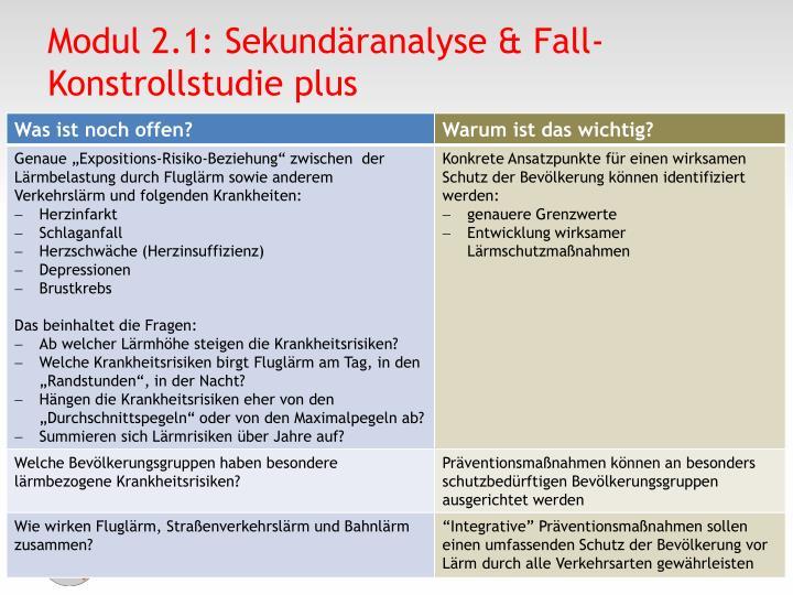 Modul 2.1: Sekundäranalyse & Fall-