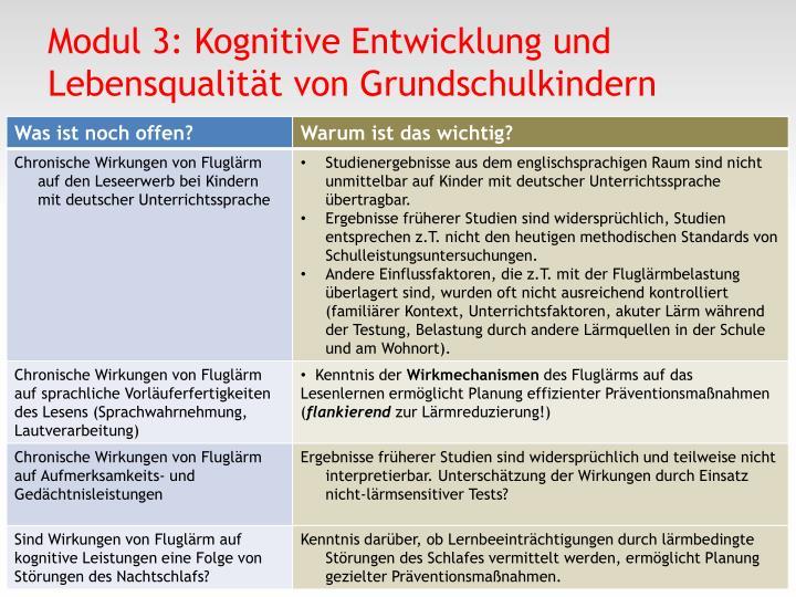 Modul 3: Kognitive Entwicklung und Lebensqualität von Grundschulkindern