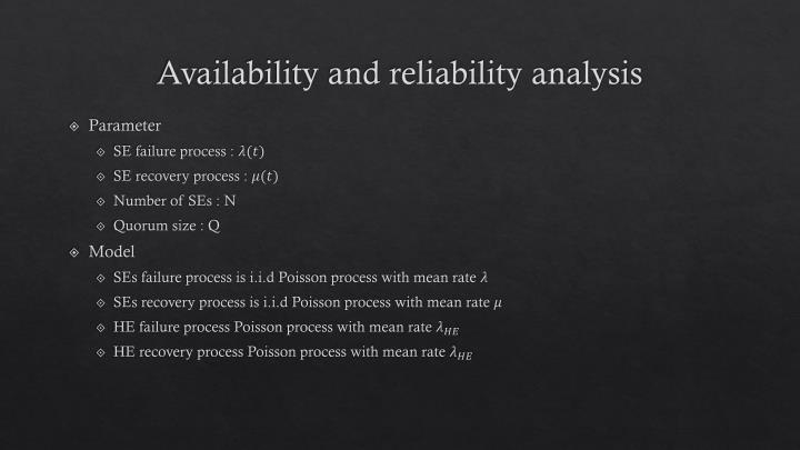Availability and reliability analysis