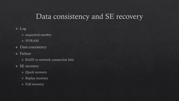 Data consistency and SE recovery