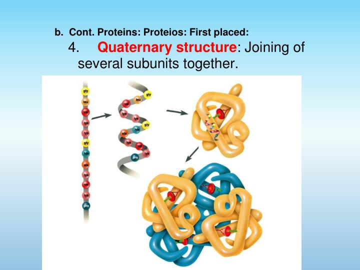 b.  Cont. Proteins: Proteios: First placed: