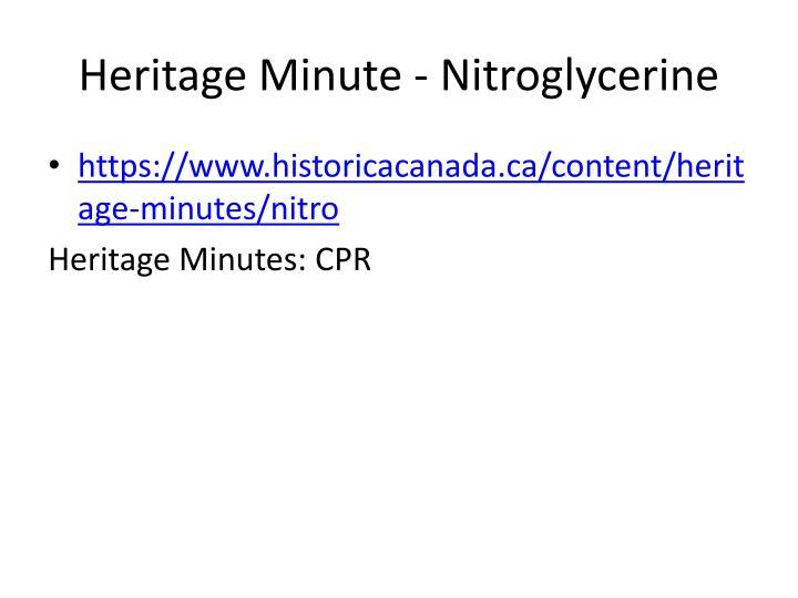 Heritage Minute - Nitroglycerine