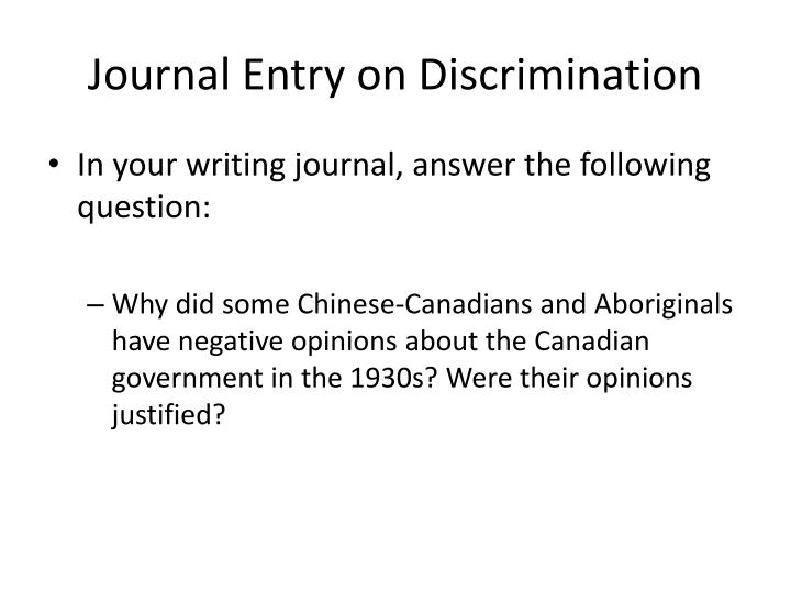 Journal Entry on Discrimination