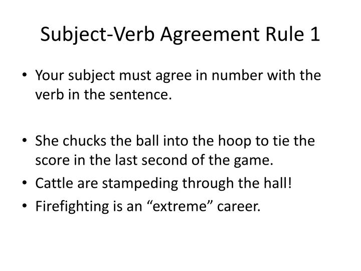 Subject-Verb Agreement Rule 1