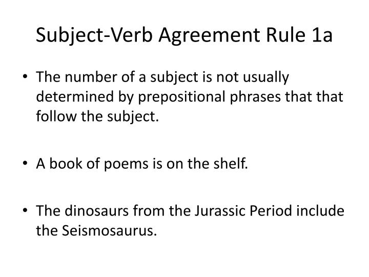 Subject verb agreement rule 1a