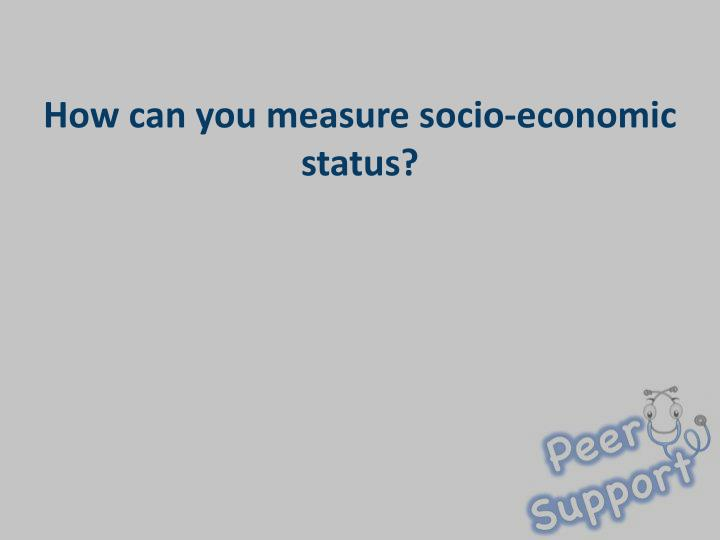 How can you measure socio-economic status?