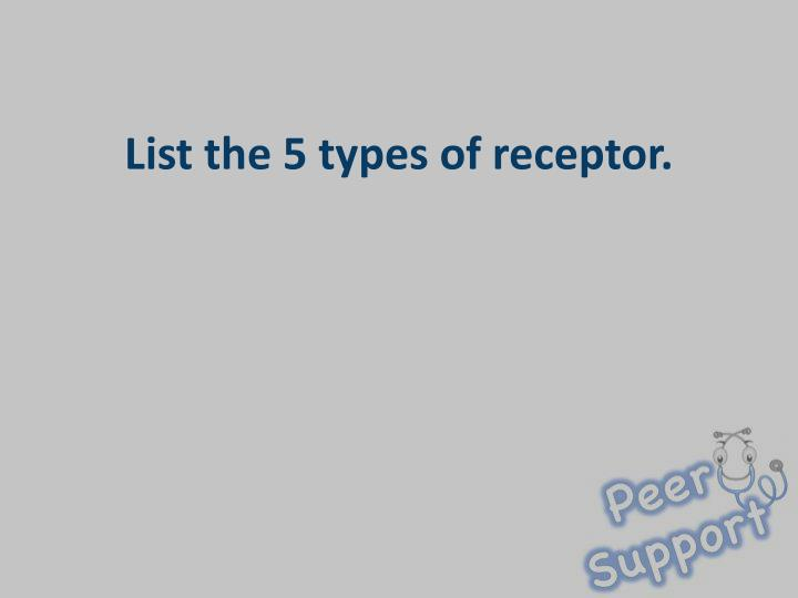 List the 5 types of receptor.