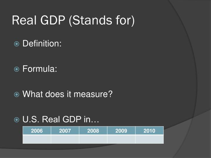 Real gdp stands for