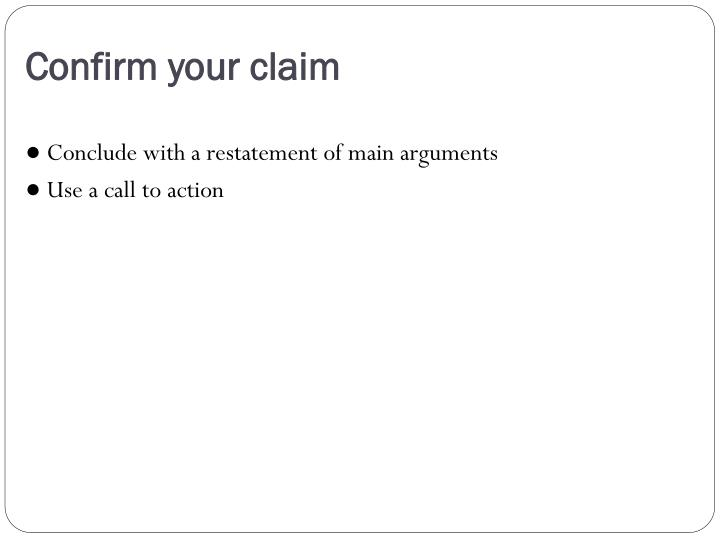 Confirm your claim