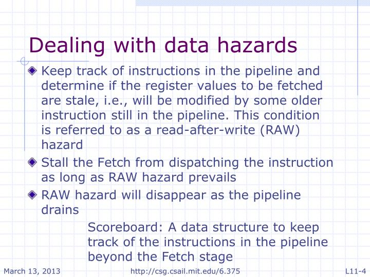 Dealing with data hazards