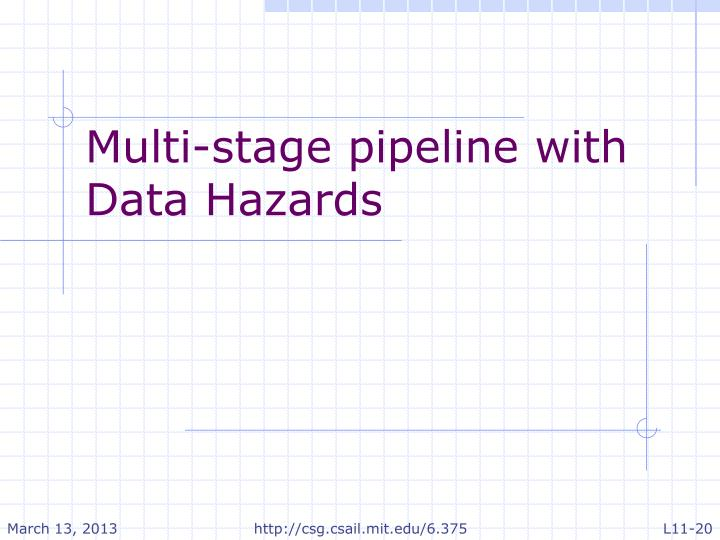 Multi-stage pipeline with Data Hazards