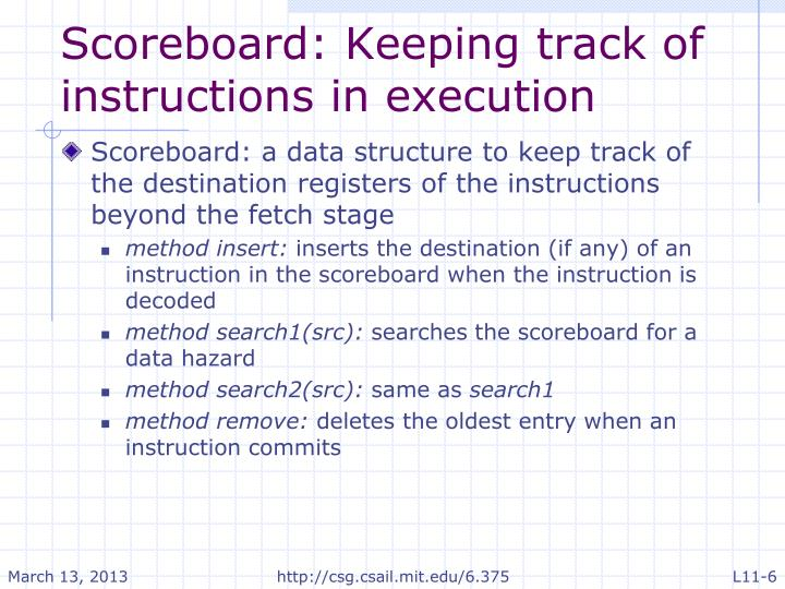 Scoreboard: Keeping track of instructions in execution