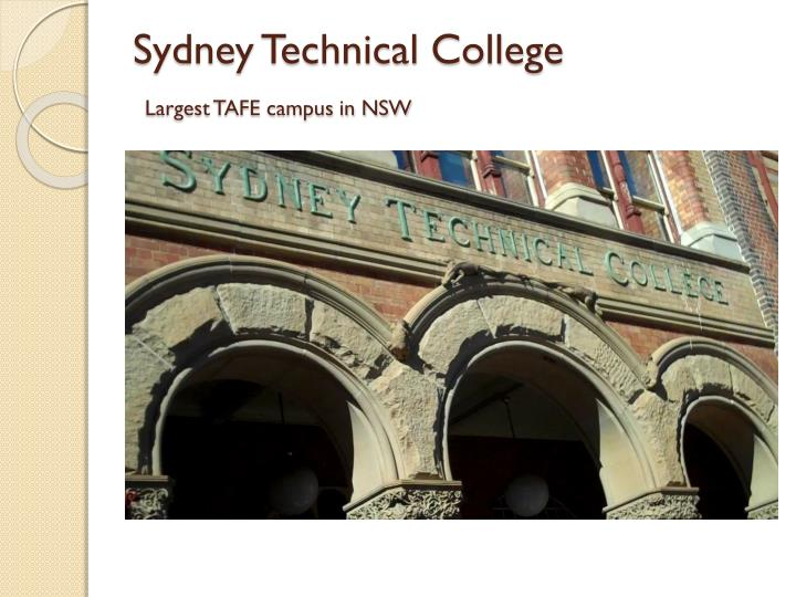 Sydney technical college largest tafe campus in nsw