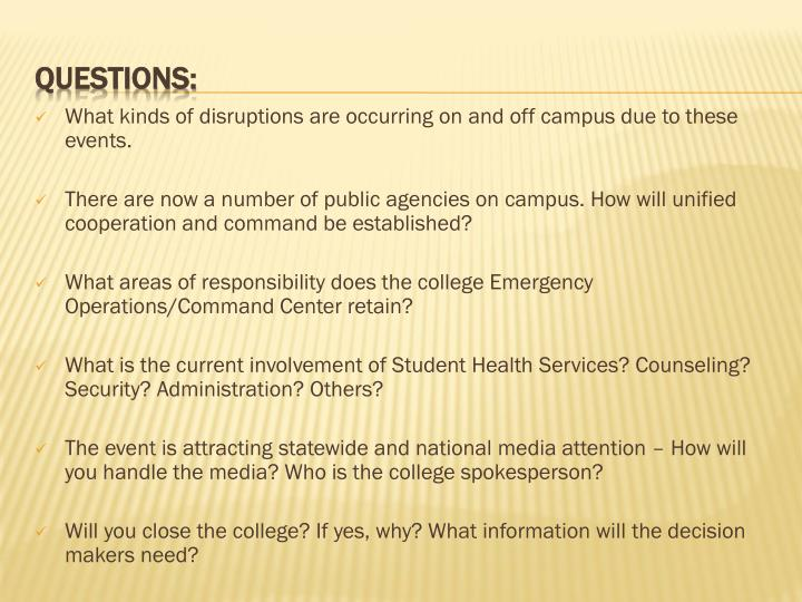 What kinds of disruptions are occurring on and off campus due to these events.